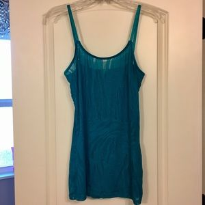 Zebra Lace Sheer Turquoise Tank Top